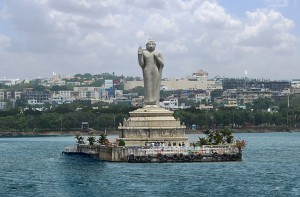 Huge Buddha statue on an islet in Hussain Sagar, apparently placed there some years ago as an attraction for Japanese tourists.