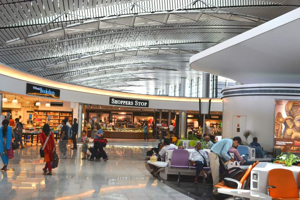 Partial view of departures lounge of the modern and aesthetic  Rajiv Gandhi International Airport of Hyderabad.