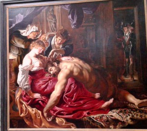 This magnificent oil on canvas by Flemish Master, Peter Paul Rubens painted about 1609, and representing the betrayal of Samson by Delilah, is a masterpiece painting of the Baroque style, emphasizing movement, colour and sensitivity. See it in the National Gallery.
