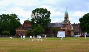 A timeless scene of England – Sunday cricket in the 'village' green. This Match photographed just outside Kew Gardens